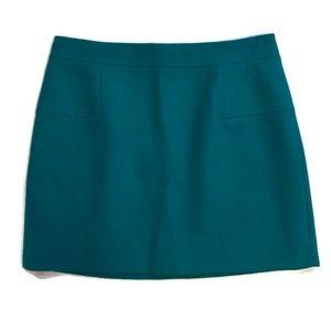 J Crew shift skirt wool blend lined green size 10